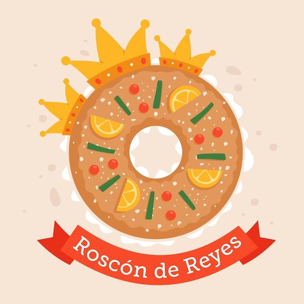 Roscon De Reyes Dessiné à La Main Vecteur Premium