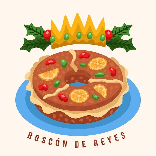 Roscon De Reyes Dessiné à La Main Vecteur gratuit