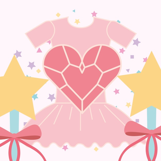 Rose ballet tutu baguette magique et coeur Vecteur Premium