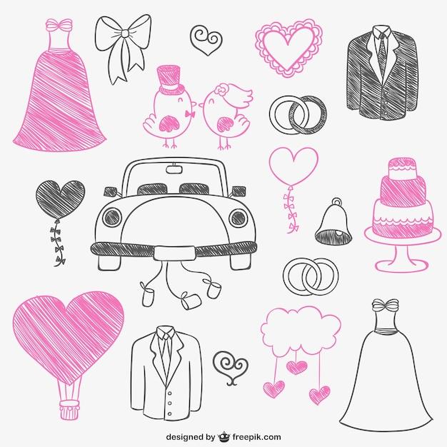 Rose et gribouillis de mariage noir Vecteur gratuit