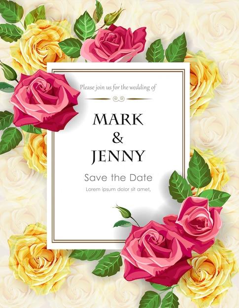 Rose sur le modèle de carte de mariage Vecteur Premium