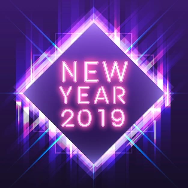 Rose nouvel an 2019 dans un signe néon carré violet Vecteur gratuit