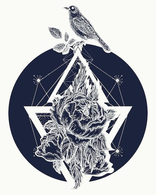 Rose et oiseaux, tatouage Vecteur Premium