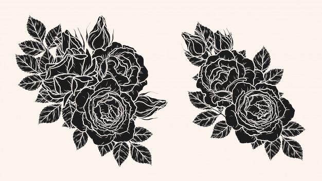 Rose ornement vectoriel dessin à la main Vecteur Premium