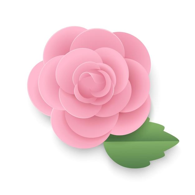 Rose Rose Avec Feuille Dans Le Style Art Papier. Vecteur Premium