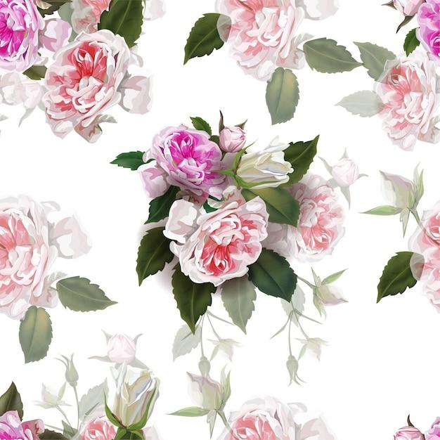 Roses anglaises fleur rose, belles fleurs naturelles Vecteur Premium
