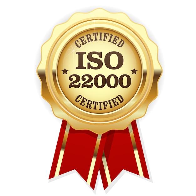Rosette Certifiée Iso 22000 - Management De La Sécurité Alimentaire Vecteur Premium