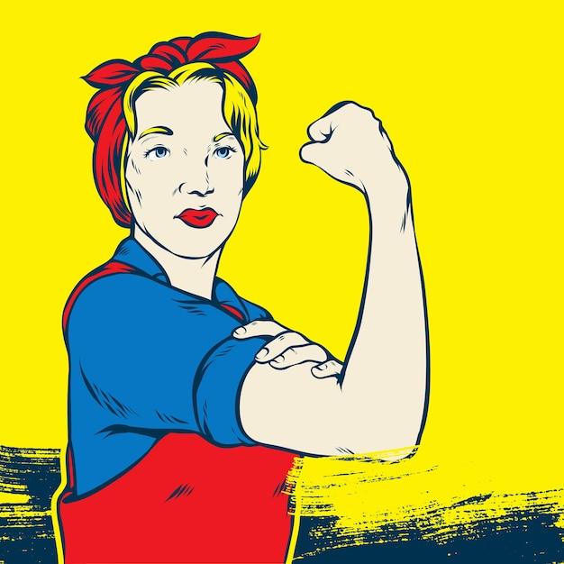 Rosie the riveter pop art Vecteur Premium