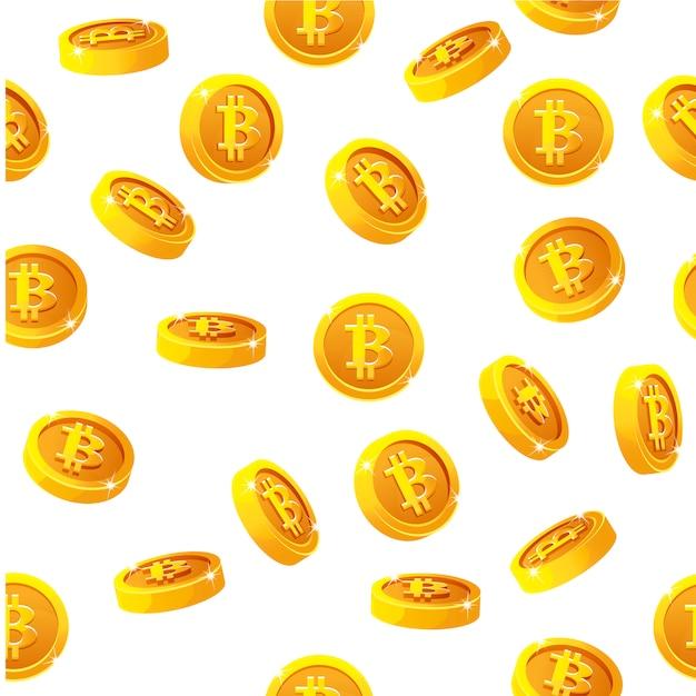 Rotation Bitcoin Pièces Modèle Sans Couture. Monnaie Internet Numérique, Arrière-plan Vecteur Premium