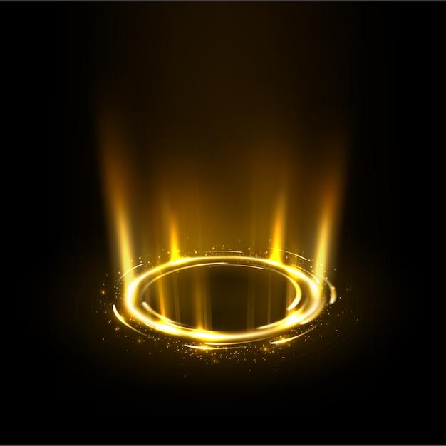 Rotation des rayons d'or avec des étincelles Vecteur Premium