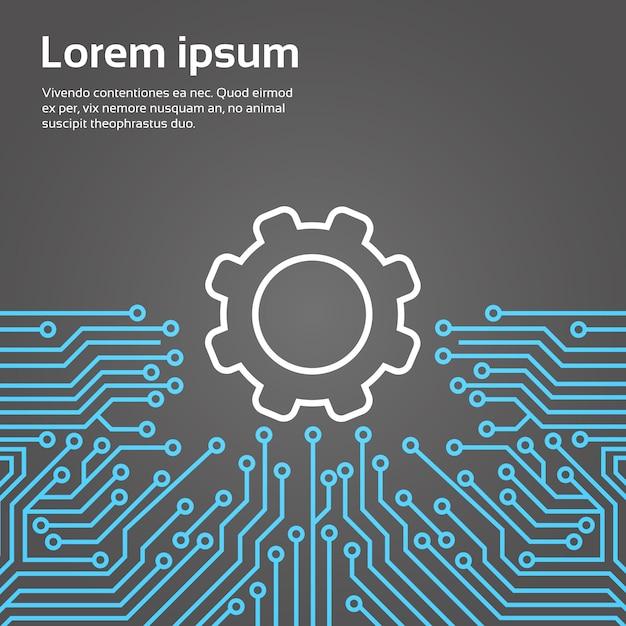 Roue dentée sur la puce d'ordinateur moterboard fond réseau concept de système de centre de données bannière Vecteur Premium