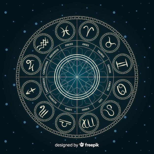 Roue du zodiaque sur fond d'espace Vecteur gratuit
