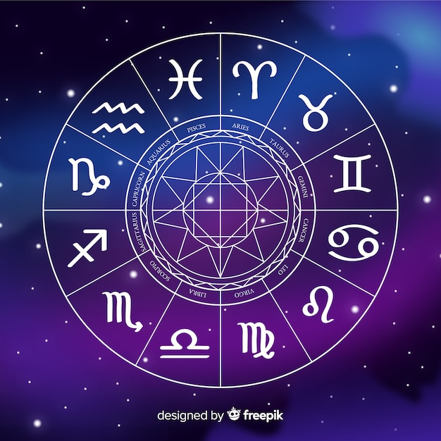 Roue du zodiaque plat sur fond de galaxie Vecteur gratuit