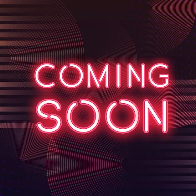Rouge bientôt vecteur icône néon Vecteur gratuit