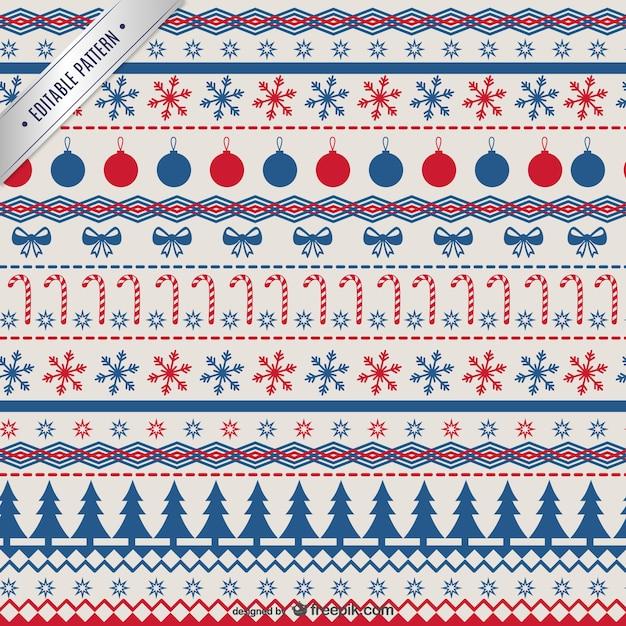 Rouge Et Bleu Motif De Noël Vecteur gratuit