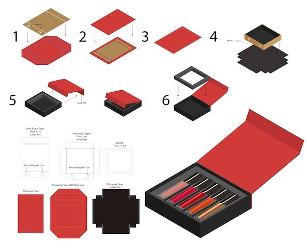 Rouge à Lèvres Aimant Rigide Boîte De Produit Simulacre Dieline Vecteur Premium