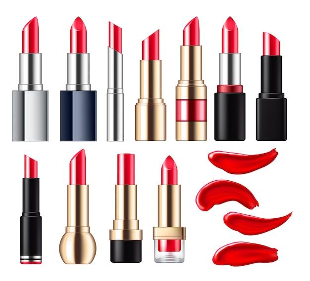 Rouge à lèvres avec taches set. Vecteur Premium