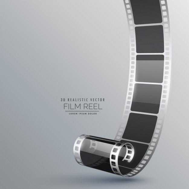 rouleau de film 3D réaliste sur fond gris Vecteur gratuit