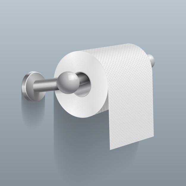 Rouleau de papier toilette blanc Vecteur Premium