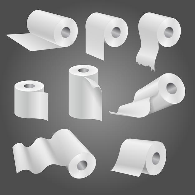 Rouleau de papier toilette pour salle de bain et toilettes Vecteur Premium