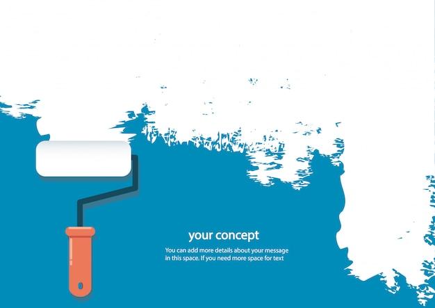 Rouleau de peinture isolé avec un espace pour le texte Vecteur Premium