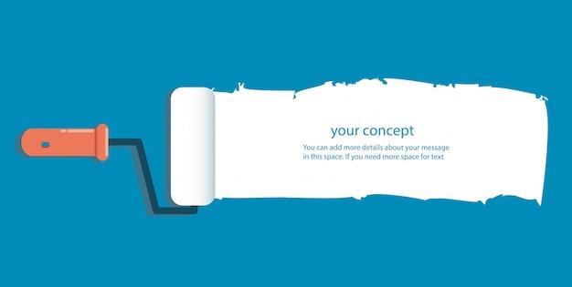 Rouleau à peinture isolé avec un espace pour le texte Vecteur Premium