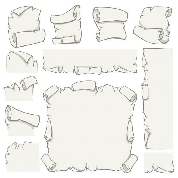 Rouleaux De Papier De Feuilles De Papyrus Vieux De Vecteur Vecteur Premium