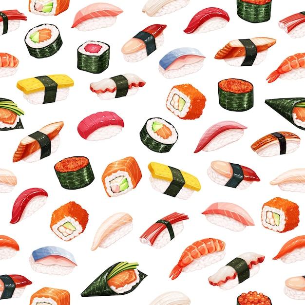 Rouleaux De Sushi Modèle Sans Couture. Nourriture Japonaise Vecteur Premium