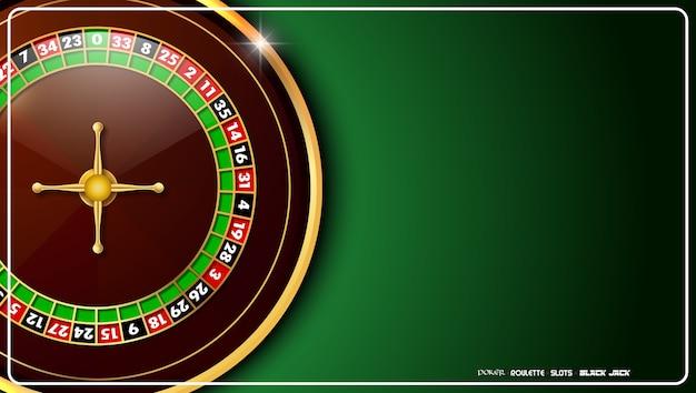 Roulette de casino sur la table verte de casino Vecteur Premium