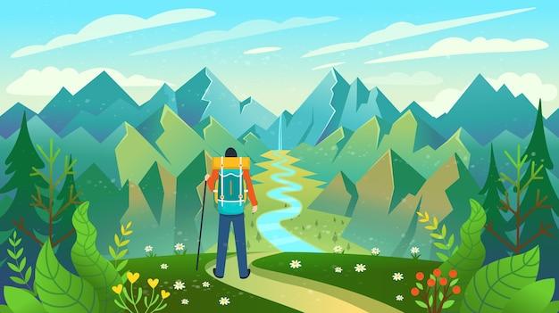 Un Routard Debout Au Sommet D'une Montagne Bénéficiant D'une Vue Sur La Rivière Vecteur Premium