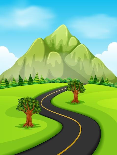 Une route allant à la montagne Vecteur Premium