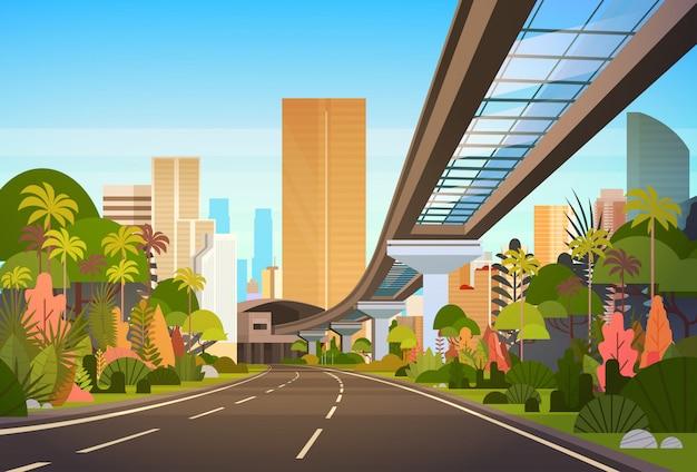 Route, autoroute, à, toits ville, à, gratte-ciels modernes, et, ferroviaire, vue, paysage urbain Vecteur Premium