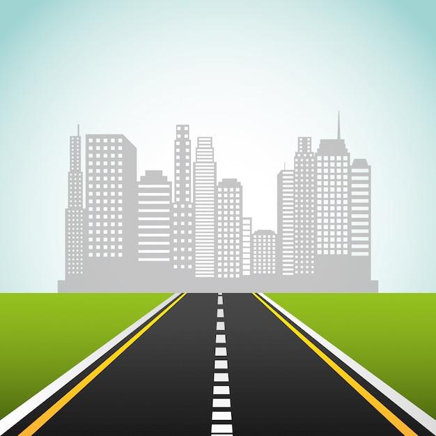 Route d'autoroute Vecteur Premium