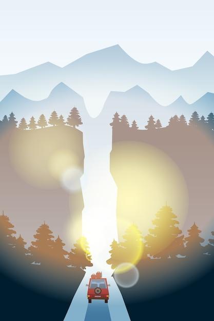 Route Avec Beau Paysage De Forêt D'épinettes. Horizon Des Montagnes. Vecteur Premium