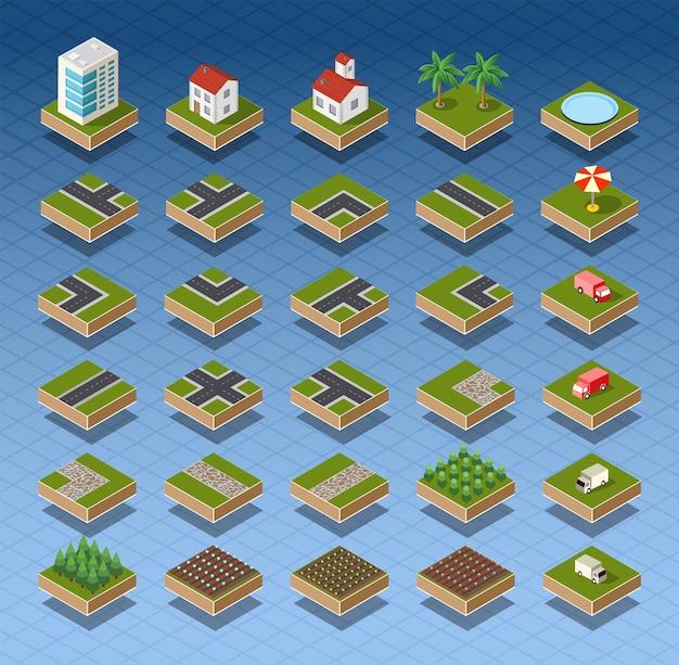Route de carte de ville isométrique, arbres et éléments de maison Vecteur Premium