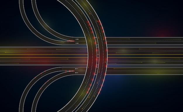Route de circulation futuriste Vecteur Premium