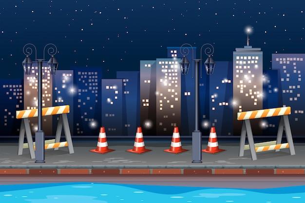 Route de construction dans la ville Vecteur gratuit