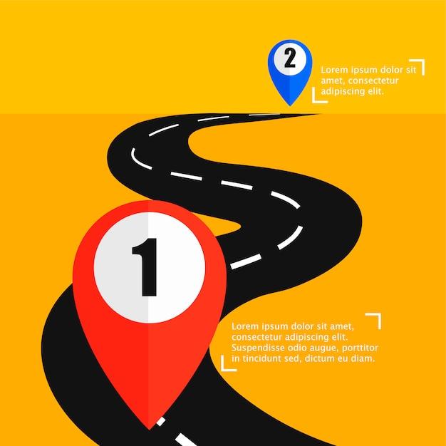 La Route Du Point A Au Punt B Vecteur gratuit