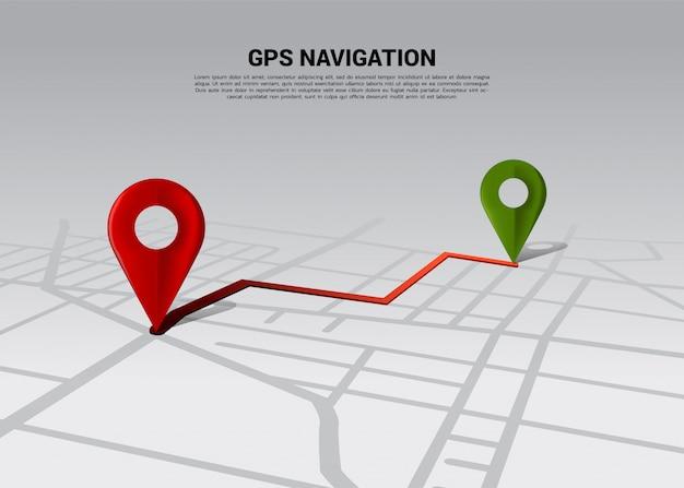 Route entre les repères de localisation 3d sur la carte routière de la ville. concept d'infographie de système de navigation gps. Vecteur Premium