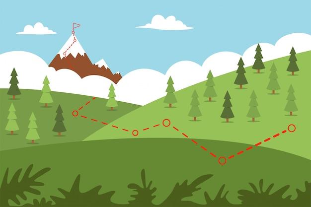 Route D'escalade Avec Chemin Vers Le Haut Et Drapeau. Illustration Plate De Dessin Animé De Vecteur D'un Paysage. Vecteur Premium