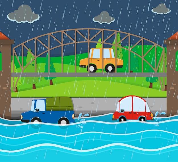 Route d'inondation à la nuit pluvieuse Vecteur gratuit