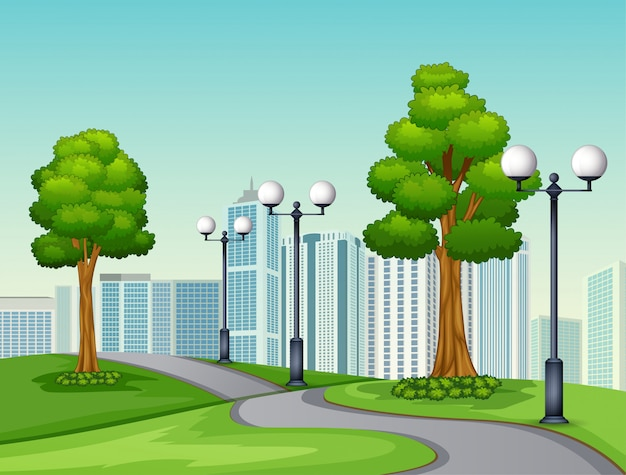 Une route naturelle vue sur un fond urbain Vecteur Premium
