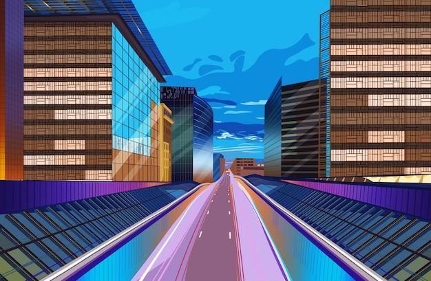 Route, nuit, paysage urbain Vecteur Premium