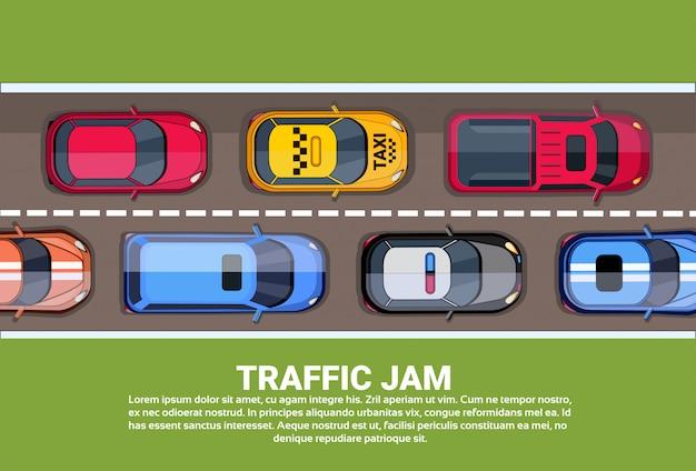 Route, plein, différent, voitures, haut, angle, vue, embouteillage Vecteur Premium