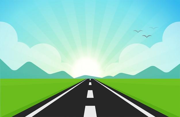 La route qui traverse des champs verts Vecteur Premium