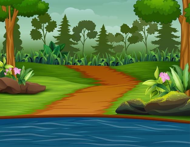 Route de la rivière avec une illustration de la forêt Vecteur Premium