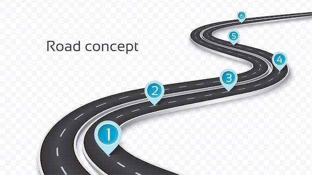 Route sinueuse en 3d sur un fond transparent. modèle de chronologie Vecteur Premium