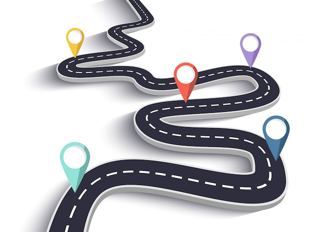 Route sinueuse sur fond blanc isolé Vecteur Premium