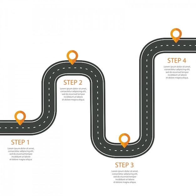 Route sinueuse avec gabarit d'infographie Vecteur Premium