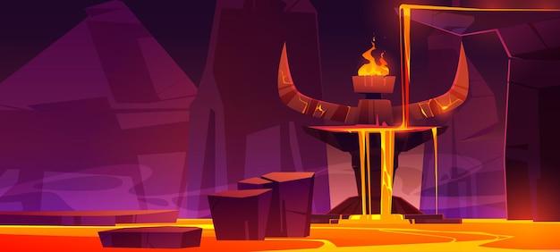 Route Vers L'enfer, Grotte Chaude Infernale Avec Coulée De Lave De L'autel Avec D'énormes Cornes De Diable Et Un Feu Brûlant Au Sommet Vecteur gratuit